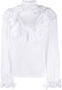 Dolce & Gabbana Broderie Anglaise Flounce Blouse - Branco