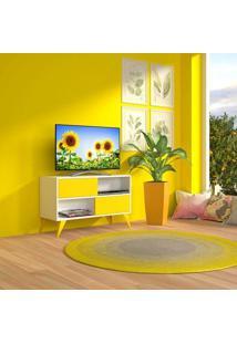 """Rack Para Tv Até 42"""" Branco E Amarelo Vivva Multivisão"""