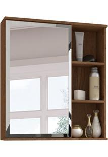 Armário De Banheiro Treviso Com Espelho 1 Pt Amêndoa