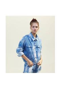 Jaqueta Jeans Tie Dye Com Bolsos E Máscara De Tecido | Blue Steel | Azul | Pp