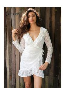 Vestido De Renda Manga Longa Simplee - Branco