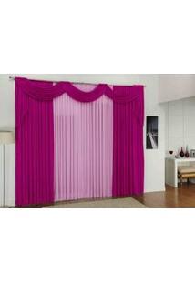 Cortina Jade Quarto E Sala 3,00M X 2,80M Pink Rosa