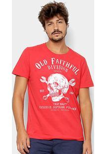 Camiseta Colcci Caveira Masculina - Masculino-Vermelho