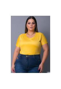 Blusa Camiseta T-Shirt Tecido Sued Urbania Suede Amarelo