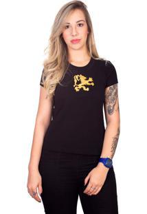 Camiseta 4 Ás Preta Manga Curta Dragão Dourado