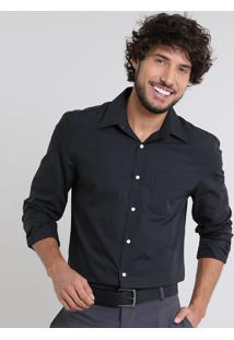 Camisa Masculina Comfort Manga Longa Com Bolso Preta