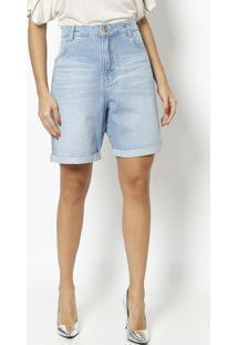 Bermuda Jeans Com Bolsos - Azul Claro - Maria Valentmaria Valentina