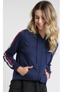 Blusão Feminino Em Moletom Com Listras E Capuz Azul Marinho