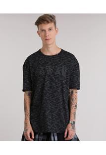 """Camiseta Longa Mescla """"Hawaii"""" Preta"""