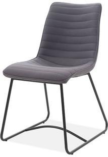 Cadeira Beatriz Tecido Vintage Cinza Escuro Base Preta - 59491 - Sun House