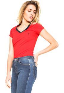 Camiseta U.S. Polo Bolso Vermelha