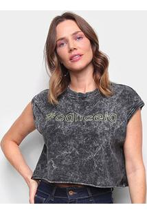 Camiseta Colcci Cropped # Cancela Feminina - Feminino-Preto