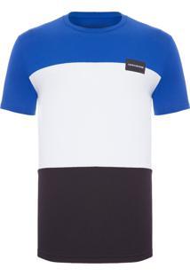 Camiseta Masculina Faixas Etiqueta - Azul