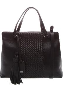Bolsa Em Couro Texturizada- Preta- 26X34X15Cmarezzo & Co.