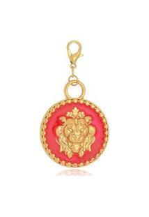 Pingente Le Diamond Medalha De Leão Rosa