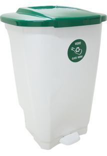 Lixeira Empresarial T-Force 100L Branco/Verde - Tramontina