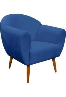 Poltrona Decorativa Sofia Suede Azul Royal - D'Rossi