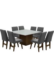 Conjunto De Mesa Para Sala De Jantar Com 8 Cadeiras Creta-Dobue - Castanho / Branco Off / Grafite Bord