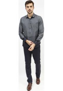 Camisa Super Slim Poã¡S & Listrada - Cinza & Off Whitearamis