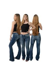 Calça Jeans Feminina Beloved Flare Indico Boca De Sino 1015 Azul
