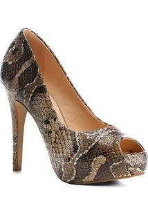 Peep Toe Couro Shoestock Meia Pata Snake - Feminino-Cobra