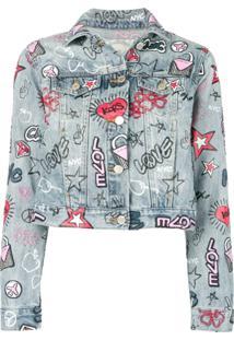 Michael Michael Kors Graphic Cropped Jean Jacket - Azul