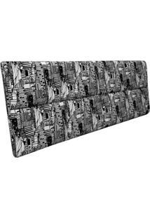 Cabeceira Estofada Casal Bloco Alce Couch Temática Preto Branco 140Cm