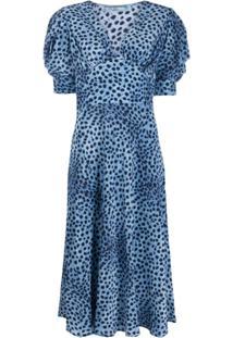 Ermanno Scervino Vestido Decote Em V Com Estampa De Leopardo - Azul