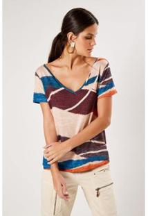 T-Shirt Malha Est Sand Sacada Feminina - Feminino-Roxo+Azul