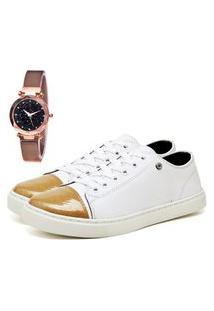 Tênis Sapatênis Casual Elegant Com Relógio Gold Feminino Dubuy 309La Branco