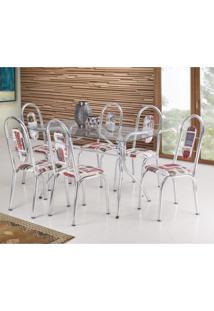 Conjunto De Mesa Com 6 Cadeiras Fusion Móveis Brastubo Incolor/Vermelho