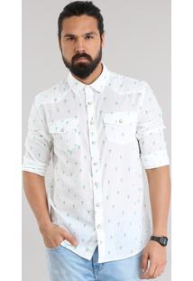 Camisa Estampada De Coqueiros Branca
