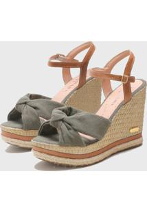 Sandã¡Lia Sb Shoes Anabela Ref.3250 Militar/ Caramelo - Caramelo/Verde Militar - Feminino - Tãªxtil - Dafiti