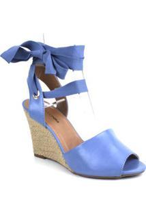 Espadrille Emporionaka Anabela Feminina - Feminino-Azul