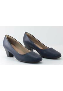 Sapato Piccadilly Scarpin Salto Baixo Feminino - Feminino-Marinho