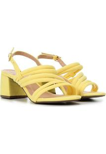 Sandália Griffe Salto Baixo Tiras Suede Feminina - Feminino-Amarelo