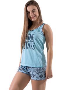 Baby Doll 4 Estações Pijama Curto Variado Verão Feminino Adulto Azul