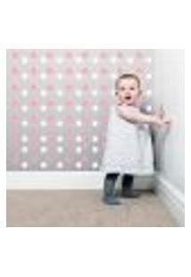 Adesivo Infantil Bolinhas Rosa E Branco-140Un