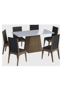 Conjunto Mesa C/ Base 6 Cadeiras Marrom Móveis Cançáo