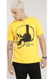 Camiseta Masculina Caveira Com Fone Manga Curta Gola Careca Amarela
