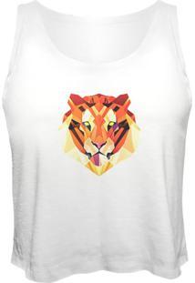 Blusa Cropped Nerderia Tigre Geometrico Branco - Branco - Feminino - Dafiti