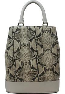 Bolsa Mochila De Couro Recuo Fashion Bag Cacau/Cobra Branca