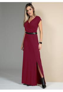Vestido Bordô Com Decote Transpassado