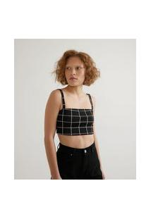 Blusa Cropped Em Jaquard Estampa Xadrez Grid E Alça Com Regulador