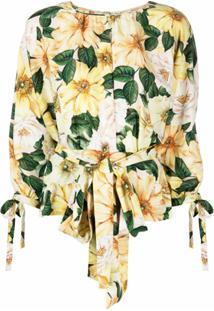Dolce & Gabbana Blusa Com Amarração E Estampa - Neutro