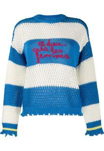 Pinko Suéter Com Bordado De Listras - Azul