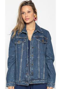 Jaqueta Jeans Com Strass - Azul Escuroenna