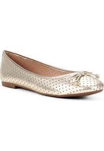 Sapatilha Shoestock Bico Redondo Perfurado Laço - Feminino-Dourado