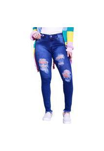 Calça Jeans Feminina Destroyed Barra Desfiada Novidade
