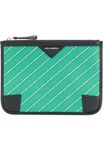 Karl Lagerfeld Carteira Pequena Listrada Com Logo - Verde